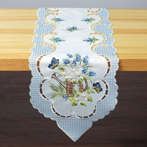 Watering Can & Blue Check Border Table Runner