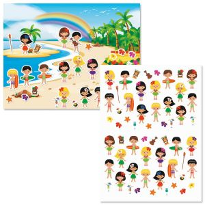 Luau Paradise Background Scenes and Stickers