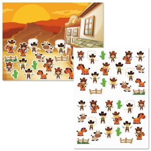Cowboys and Cowgirls Background Scenes and Stickers