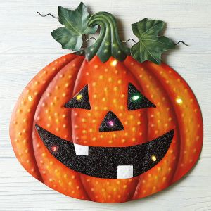 Light-Up Metal Halloween Pumpkin