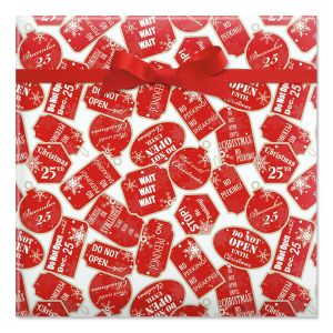 Red Tag Christmas Jumbo Rolled Gift Wrap