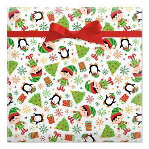 Elves Jumbo Rolled Gift Wrap