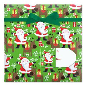 Santa's Christmas Helper Jumbo Rolled Gift Wrap and Labels