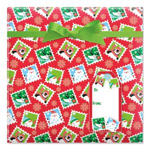 Character Stamps Jumbo Rolled Gift Wrap and Labels
