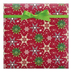 Retro Snowflakes Jumbo Rolled Gift Wrap