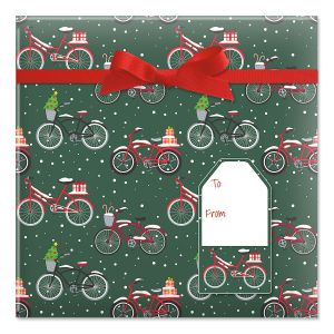 Christmas Bicycles Jumbo Rolled Gift Wrap and Labels