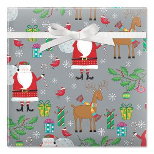 Santa & Reindeer on Silver Jumbo Rolled Gift Wrap
