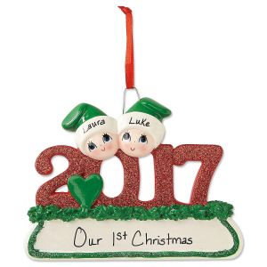 2017 Glitter Personalized Christmas Ornaments