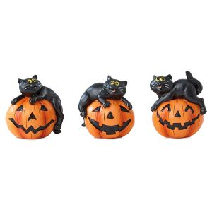 Cats on Pumpkins Figurines