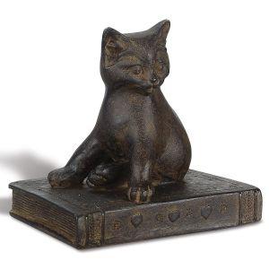 Cat on Book Figurine
