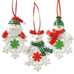 Set of 3 Snowflake Character Christmas Ornaments