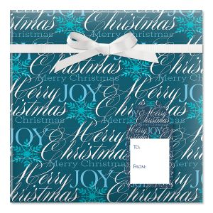 Formal Script Jumbo Rolled Gift Wrap and Labels