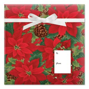 Pointsettia with Pinecones Jumbo Rolled Gift Wrap and Labels