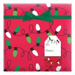 Holiday Lights on Red Jumbo Rolled Gift Wrap and Labels