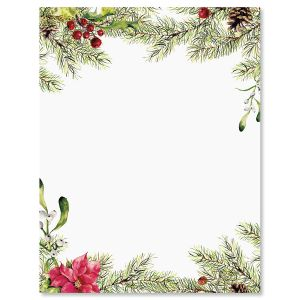Pine Berries Christmas Letter Paper