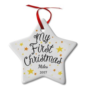 My First Christmas Ceramic Baby Personalized Christmas Ornament