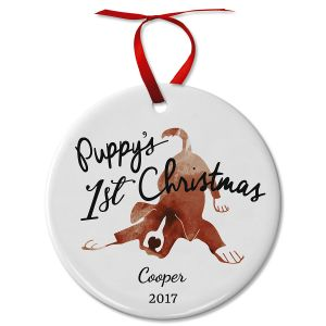 Puppy's First Christmas Ceramic Personalized Christmas Ornament