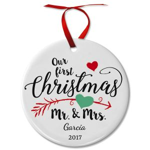 Personalized First Christmas as Mr & Mrs Wedding Ceramic Ornament