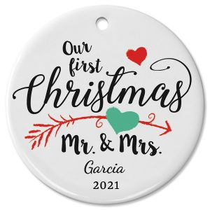 First Christmas Wedding Ceramic Personalized Christmas Ornament