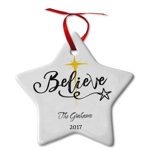 Personalized Believe Ceramic Ornament