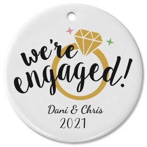 Engaged Ceramic Personalized Christmas Ornament
