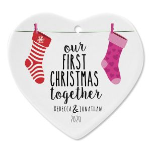 First Christmas Together Ceramic Personalized Christmas Ornament