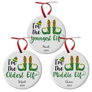 Personalized Elf Ceramic Ornaments