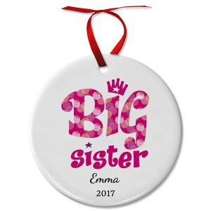 Personalized Big Sister Ceramic Ornament
