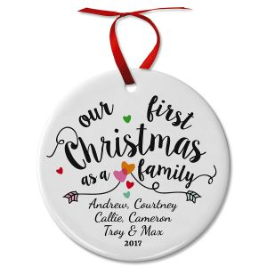 Personalized First Christmas as a Family Ceramic Ornament