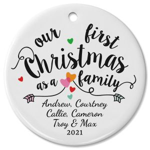 Family's First Christmas Ceramic Personalized Christmas Ornament