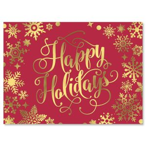 Snowflake Wreath Deluxe Foil Christmas Cards