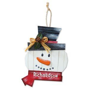 Personalized Snowman Wreath Ornament