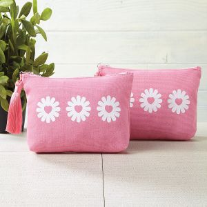 Daisy Hearts Canvas Cosmetic Bag - BOGO