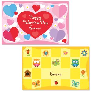 Hearts Personalized Place Mats for Kids
