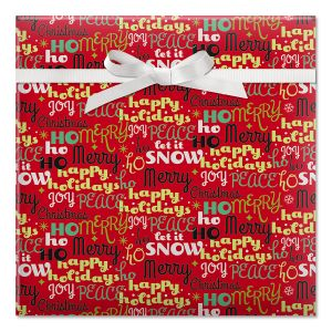 Merry Verbiage Foil Rolled Gift Wrap