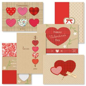 Kraft Heart Valentines Day Cards and Seals
