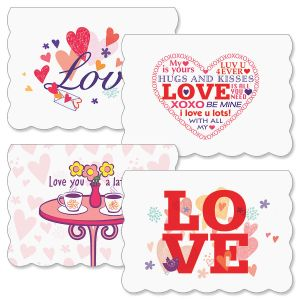Love All Around Scalloped-Edge Valentines Day Cards