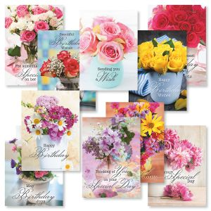 Floral Bouquets Birthday Greeting Cards Value Pack