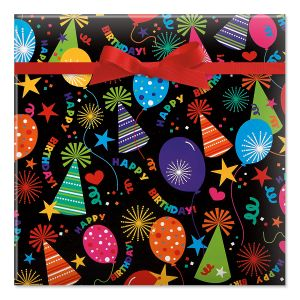 Black Birthday Hats Classic Rolled Gift Wrap