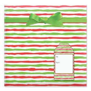 Red & Lime Stripes Rolled Gift Wrap & Labels