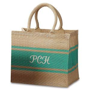 Personalized Aqua-Stripe Tote Bag