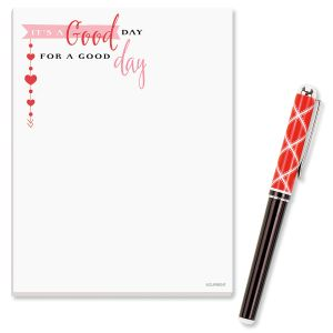 Good Day Notepad and Red Plaid Pen Set