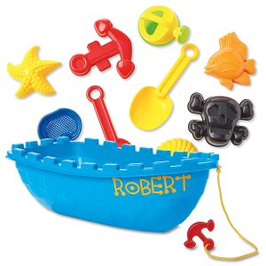 Personalized Pirate Boat Sand Toy