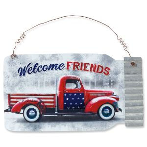 Patriotic Metal Jar Sign