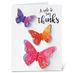 Butterfly Days Thank You Diecut Note Cards - BOGO