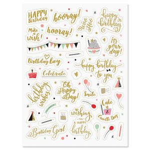 Birthday Word Stickers
