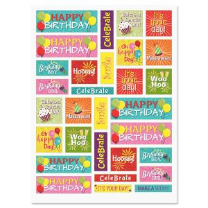 Birthday Words in Squares Stickers