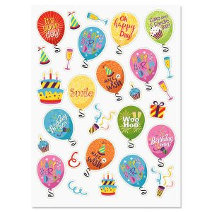 Birthday Balloons & Words Stickers