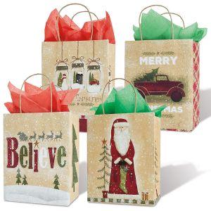 Christmas Folk Kraft Gift Bags