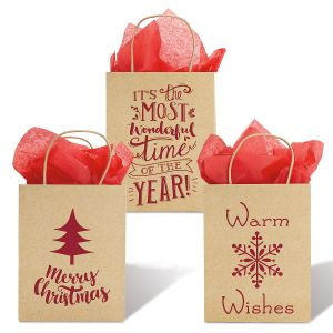 Kraft Gift Bags with Red Foil